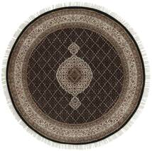 Tabriz Royal Tæppe Ø 150 Ægte Orientalsk Håndvævet Rundt Mørkebrun/Lysegrå ( Indien)