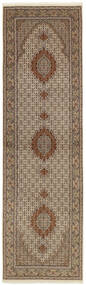 Tabriz 50 Raj Tæppe 89X304 Ægte Orientalsk Håndknyttet Tæppeløber Lysegrå/Brun (Uld/Silke, Persien/Iran)