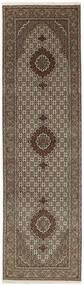 Tabriz 50 Raj Tæppe 82X298 Ægte Orientalsk Håndknyttet Tæppeløber Mørkebrun/Lysegrå (Uld/Silke, Persien/Iran)