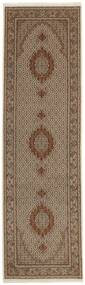Tabriz 50 Raj Tæppe 91X303 Ægte Orientalsk Håndknyttet Tæppeløber Brun/Lysebrun (Uld/Silke, Persien/Iran)