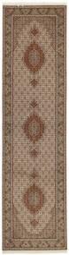 Tabriz 50 Raj Tæppe 81X308 Ægte Orientalsk Håndknyttet Tæppeløber Brun/Lysegrå (Uld/Silke, Persien/Iran)