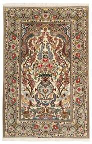 Isfahan Ordito In Seta Tappeto 106X161 Orientale Fatto A Mano Beige/Marrone (Lana/Seta, Persia/Iran)