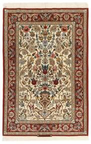 Isfahan Urzeală De Mătase Covor 105X161 Orientale Lucrate De Mână Maro Deschis/Bej (Lână/Mătase, Persia/Iran)