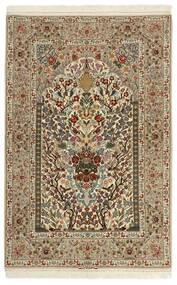 Isfahan Urzeală De Mătase Covor 128X197 Orientale Lucrate De Mână Maro Deschis/Maro (Lână/Mătase, Persia/Iran)