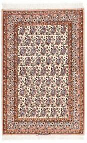 イスファハン 絹の縦糸 絨毯 106X161 オリエンタル 手織り ベージュ/濃い茶色 (ウール/絹, ペルシャ/イラン)