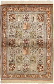 Qom Mătase Covor 102X150 Orientale Lucrate De Mână Maro/Gri Deschis (Mătase, Persia/Iran)