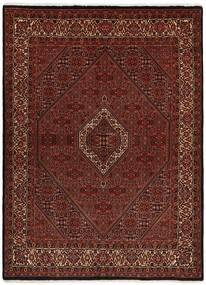 Bidjar Med Silke Tæppe 170X228 Ægte Orientalsk Håndvævet Mørkebrun/Mørkerød (Uld/Silke, Persien/Iran)