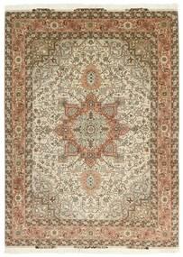 Tabriz 50 Raj Covor 151X213 Orientale Lucrate De Mână Maro/Bej (Lână/Mătase, Persia/Iran)