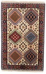 Yalameh Tapis 80X124 D'orient Fait Main Marron Foncé/Beige (Laine, Perse/Iran)