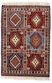 Yalameh Teppe 66X95 Ekte Orientalsk Håndknyttet Mørk Rød/Lyserosa (Ull, Persia/Iran)