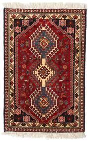 Yalameh Teppe 61X92 Ekte Orientalsk Håndknyttet Mørk Rød/Mørk Brun (Ull, Persia/Iran)