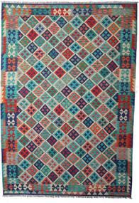 Kelim Afghan Old Style Tæppe 205X294 Ægte Orientalsk Håndvævet Mørkeblå/Lysegrå (Uld, Afghanistan)