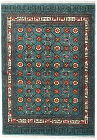 Turkaman Matta 136X187 Äkta Orientalisk Handknuten Mörk Turkos/Mörkgrå (Ull, Persien/Iran)