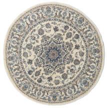 Nain Teppe Ø 195 Ekte Orientalsk Håndknyttet Rundt Lys Grå/Mørk Grå (Ull, Persia/Iran)