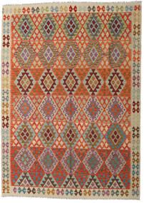 Kelim Afghan Old Style Teppe 210X292 Ekte Orientalsk Håndvevd Lysbrun/Mørk Brun (Ull, Afghanistan)