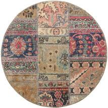 Patchwork - Persien/Iran Matto Ø 100 Moderni Käsinsolmittu Pyöreä Tummanharmaa/Vaaleanharmaa (Villa, Persia/Iran)