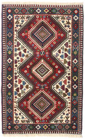 Yalameh Teppe 82X132 Ekte Orientalsk Håndknyttet Mørk Rød/Mørk Blå (Ull, Persia/Iran)