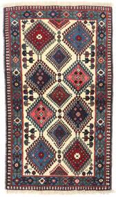 Yalameh Teppe 76X133 Ekte Orientalsk Håndknyttet Beige/Mørk Blå (Ull, Persia/Iran)