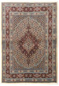Moud Matta 100X142 Äkta Orientalisk Handknuten Ljusgrå/Mörkbrun (Ull/Silke, Persien/Iran)