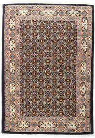 Moud Matta 104X148 Äkta Orientalisk Handknuten Mörkbrun/Ljusgrå (Ull/Silke, Persien/Iran)