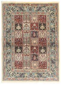 Moud Tæppe 100X138 Ægte Orientalsk Håndknyttet Mørkegrå/Beige (Uld/Silke, Persien/Iran)