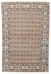 Moud Matta 97X145 Äkta Orientalisk Handknuten Ljusbrun/Ljusgrå (Ull/Silke, Persien/Iran)