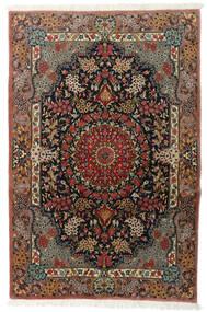 Kom Kork/Jedwab Dywan 111X170 Orientalny Tkany Ręcznie Ciemnobrązowy/Jasnobrązowy (Wełna/Jedwab, Persja/Iran)