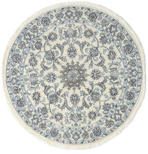 Nain Rug Ø 140 Authentic  Oriental Handknotted Round Beige/Light Blue (Wool, Persia/Iran)