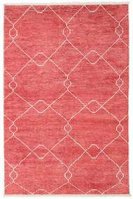 Bamboo Silk Handloom Rug 160X230 Authentic  Modern Handknotted Crimson Red/Light Pink ( India)