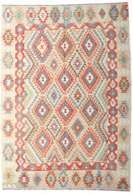 Kelim Afghan Old Style Tæppe 202X287 Ægte Orientalsk Håndvævet Mørk Beige/Beige (Uld, Afghanistan)