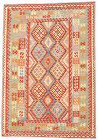 Kelim Afghan Old Style Teppe 203X290 Ekte Orientalsk Håndvevd Mørk Beige/Beige (Ull, Afghanistan)