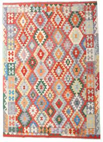 Kelim Afghan Old Style Teppich 170X239 Echter Orientalischer Handgewebter Hellgrau/Rost/Rot (Wolle, Afghanistan)