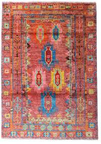 Moroccan 베르베르 - Afghanistan 러그 124X177 정품  모던 수제 다크 레드/러스트 레드 (울, 아프가니스탄)