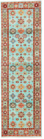 Kazak Rug 82X275 Authentic Oriental Handknotted Hallway Runner Turquoise Blue/Dark Red (Wool, Pakistan)