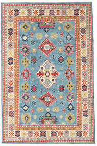 Kazak Rug 193X296 Authentic Oriental Handknotted Dark Beige/Turquoise Blue (Wool, Pakistan)