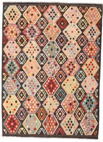 キリム アフガン オールド スタイル 絨毯 178X244 オリエンタル 手織り 濃い茶色/暗めのベージュ色の (ウール, アフガニスタン)