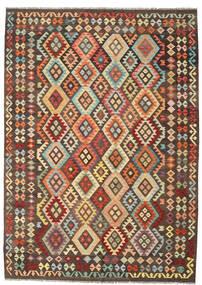 Kelim Afghan Old Style Teppe 208X293 Ekte Orientalsk Håndvevd Mørk Brun/Brun (Ull, Afghanistan)