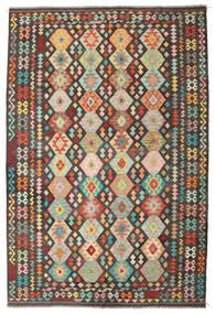 Kelim Afghan Old Style Tæppe 203X302 Ægte Orientalsk Håndvævet Mørkegrå/Lysebrun (Uld, Afghanistan)