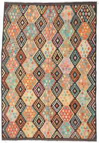 Kelim Afghan Old Style Tæppe 204X294 Ægte Orientalsk Håndvævet Mørkegrå/Lysegrå (Uld, Afghanistan)