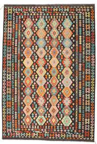 Kelim Afghan Old Style Tæppe 206X301 Ægte Orientalsk Håndvævet Mørkegrå/Mørk Beige (Uld, Afghanistan)