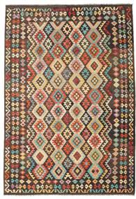 Kelim Afghan Old Style Tæppe 202X294 Ægte Orientalsk Håndvævet Mørkebrun/Mørk Beige (Uld, Afghanistan)