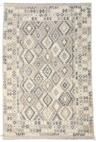 Kilim Afghan Old Style Rug 202X304 Authentic  Oriental Handwoven Light Grey/Beige (Wool, Afghanistan)