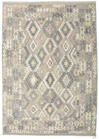 Kelim Afghan Old Style Teppe 210X295 Ekte Orientalsk Håndvevd Lys Grå/Beige (Ull, Afghanistan)