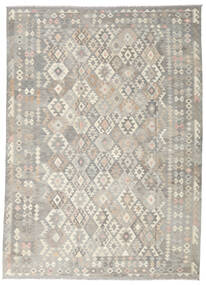 Chilim Afghan Old Style Covor 244X339 Orientale Lucrate De Mână Gri Deschis/Bej Închis (Lână, Afganistan)