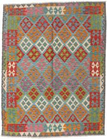 Kelim Afghan Old Style Tæppe 151X196 Ægte Orientalsk Håndvævet Mørkerød/Lysgrøn (Uld, Afghanistan)