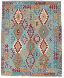Kelim Afghan Old Style Teppe 155X191 Ekte Orientalsk Håndvevd Mørk Grå/Lys Blå (Ull, Afghanistan)