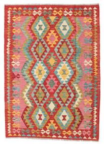 キリム アフガン オールド スタイル 絨毯 126X173 オリエンタル 手織り 錆色/ライトピンク (ウール, アフガニスタン)