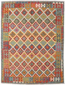 Chilim Afghan Old Style Covor 105X148 Orientale Lucrate De Mână Roșu-Închis/Gri Închis (Lână, Afganistan)