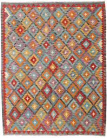 Kelim Afghan Old Style Tæppe 150X192 Ægte Orientalsk Håndvævet Brun/Mørkegrå (Uld, Afghanistan)