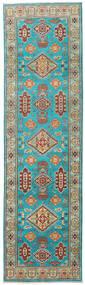 カザック 絨毯 82X291 オリエンタル 手織り 廊下 カーペット ターコイズブルー/ライトグリーン (ウール, パキスタン)